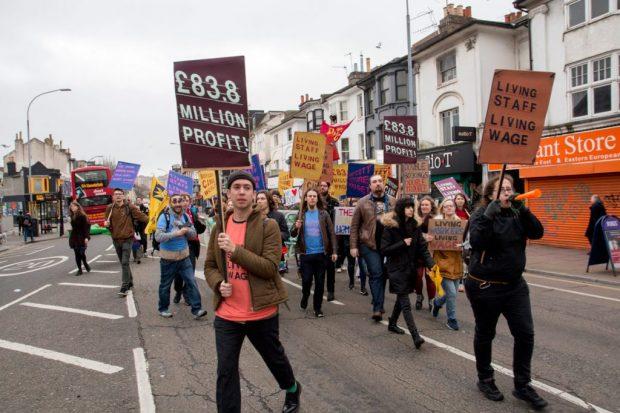Cineworld Staff protest outside Duke of Yorks cinema, Brighton 2017