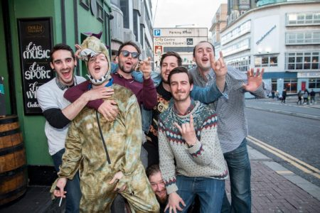 Stag party on West Street, Brighton, 2017. Roar.