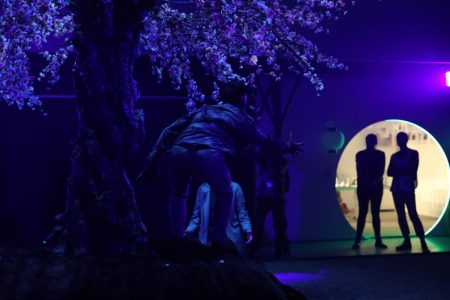 Neon low-light scene with silhouette, Canon EOS R launch event 2018, London
