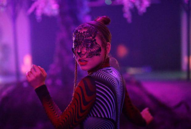 Portrait of a neon dancer, Canon EOS R Launch event, London. Shot for Park Cameras