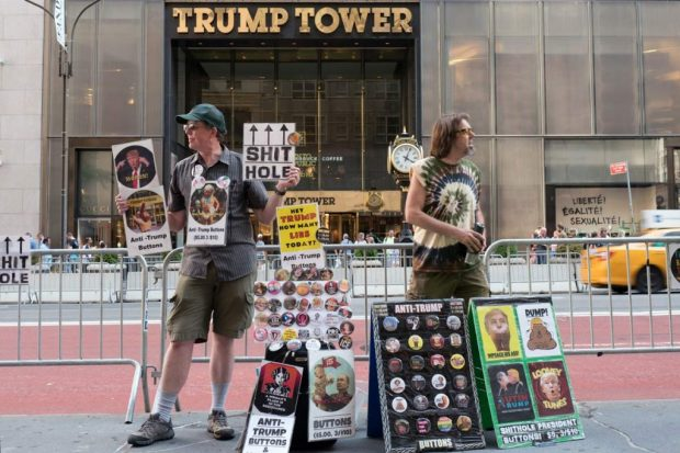 Protest outside Trump Tower, New York, street photography using Leica Q